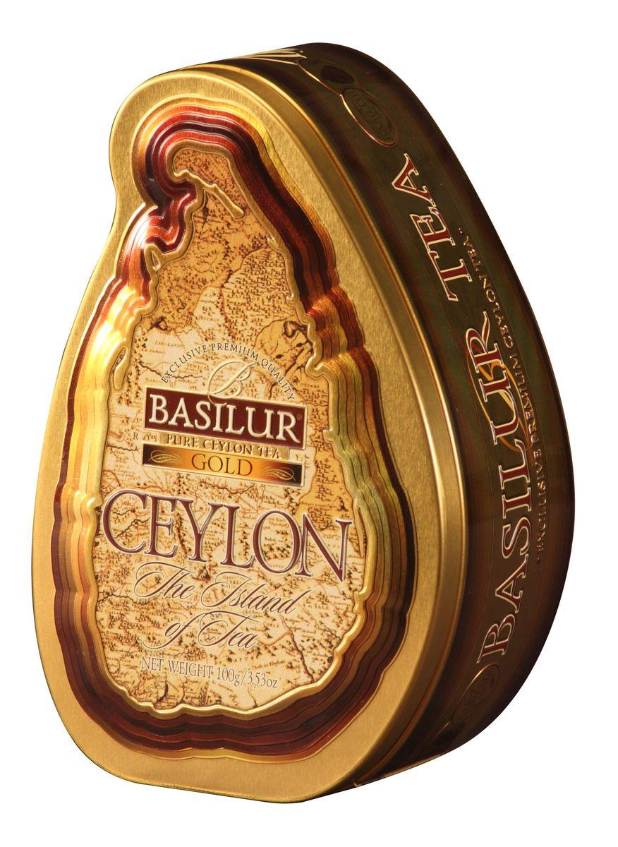Basilur Gold черный листовой чай, 100 г (жестяная банка) basilur green зеленый листовой чай 100 г жестяная банка