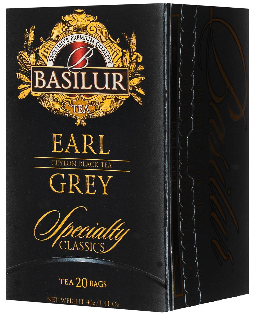Basilur Earl Grey черный чай в пакетиках, 20 шт чайники и кофейники на кухню basilur