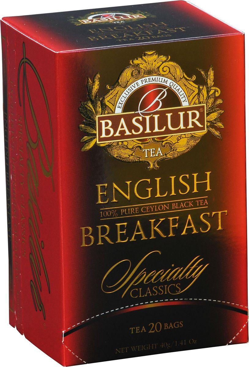 Basilur English Breakfast черный чай в пакетиках, 20 шт70184-00Basilur English Breakfast - черный байховый мелколистовой чай в пакетиках с ярлычками для разовой заварки. Насыщенный, крепкий и богатый вкус черного чая хорошо сочетается с молоком и сахаром, в стиле, который традиционно ассоциируется с настоящим английским завтраком.Всё о чае: сорта, факты, советы по выбору и употреблению. Статья OZON Гид