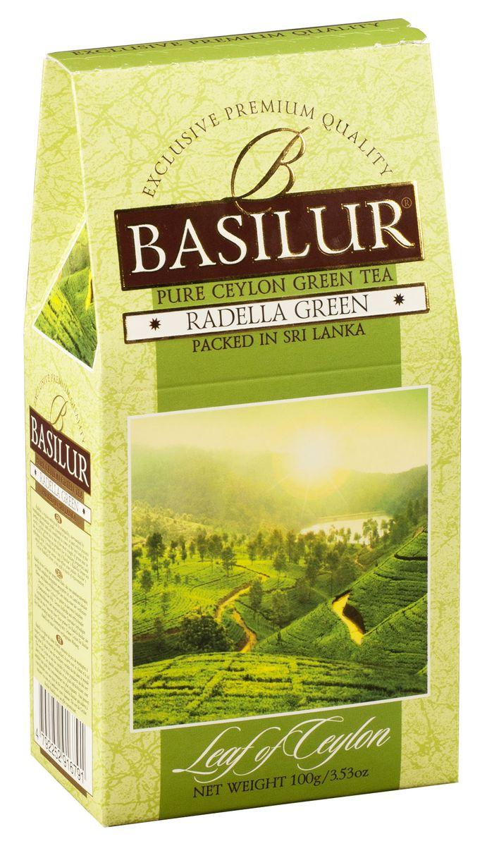 Basilur Radella Green зеленый листовой чай, 100 г70457-00Чай зелёный цейлонский байховый листовой Basilur Radella Green. Среди горных вершин, покрытых туманами расположена Radella. Место с идеальными климатическими и почвенными условиями для выращивания одного из лучших сортов чая в мире.Целебные свойства и освежающий вкус цейлонского чая удовлетворят даже самых взыскательных ценителей этого напитка. Чашка зеленого чая Basilur Radella Green с легким освежающим эффектом успокоит ваши чувства и поднимет настроение.