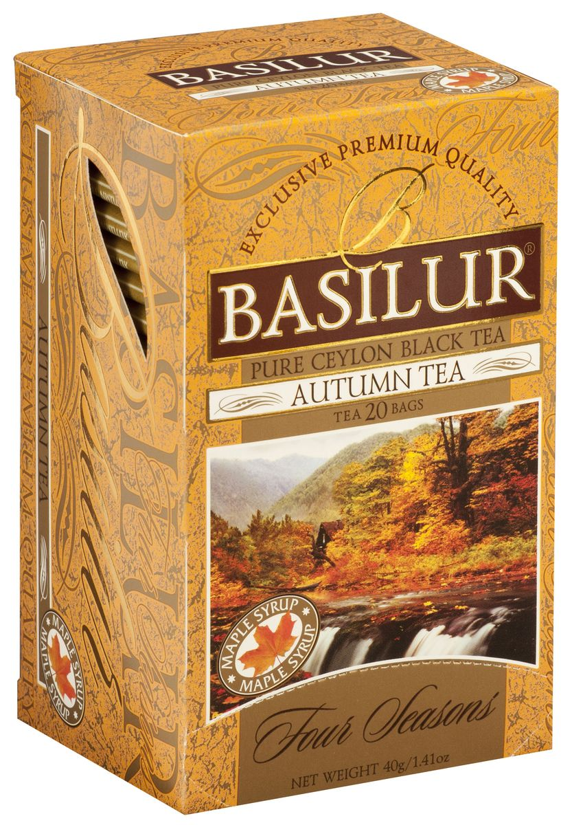Basilur Autumn Tea черный чай в пакетиках, с кленовым сиропом, 20 шт70391-00Basilur Autumn Tea - черный байховый чай в пирамидках с лепестками сафлора и ароматом кленового сиропа. Прежде, чем природа укроется зимним снегом, наступает прекрасная осенняя пора, когда всё сверкает и переливается восхитительными красками. Великолепный вкус цейлонского чая Basilur с ароматом кленового сиропа и лепестками сафлора подарит вам яркое, как листок клёна, впечатление праздника.