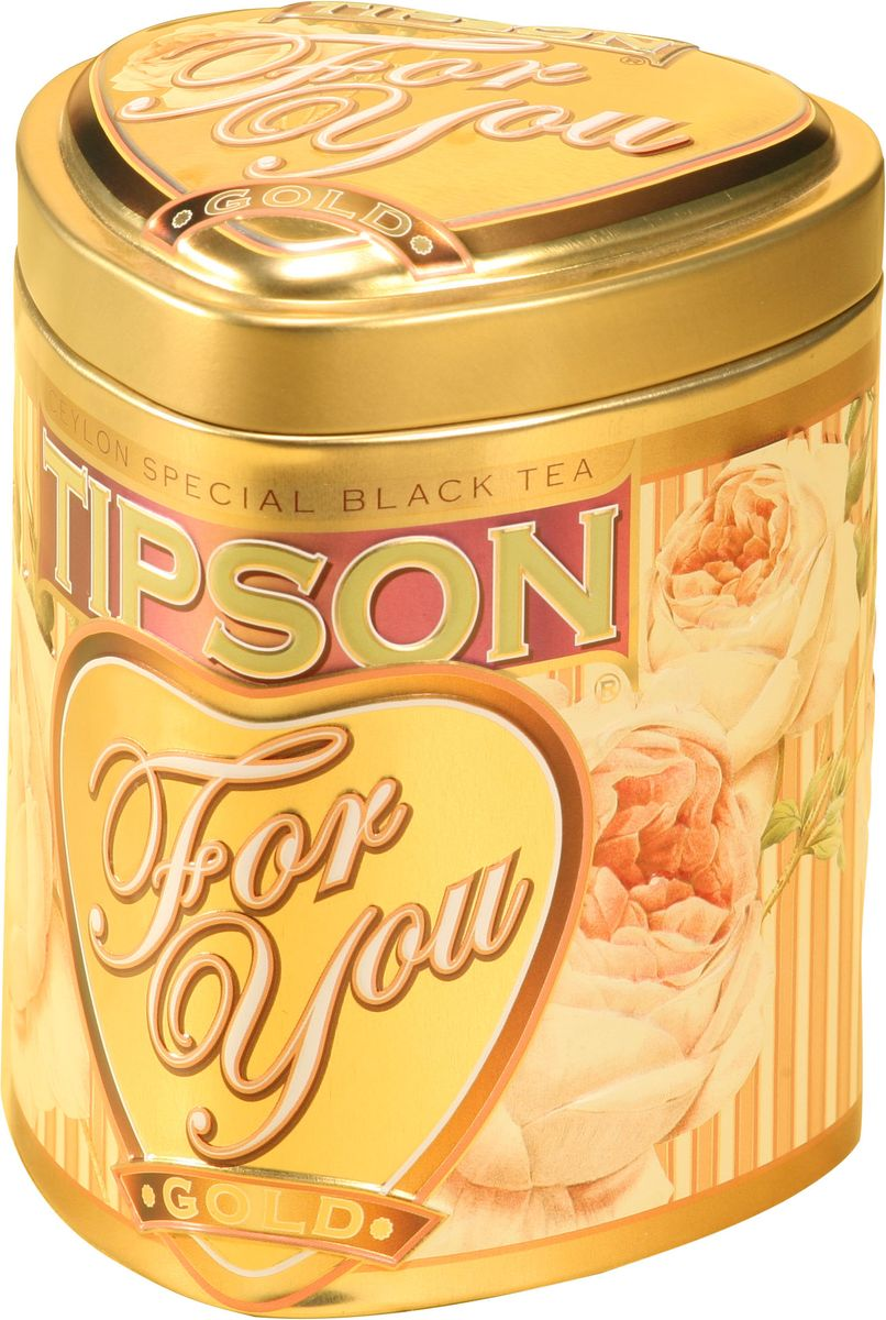 Tipson Gold черный листовой чай, 75 г (жестяная банка) tipson империал 3 чайный набор стеклянный чайник и чай 50 г