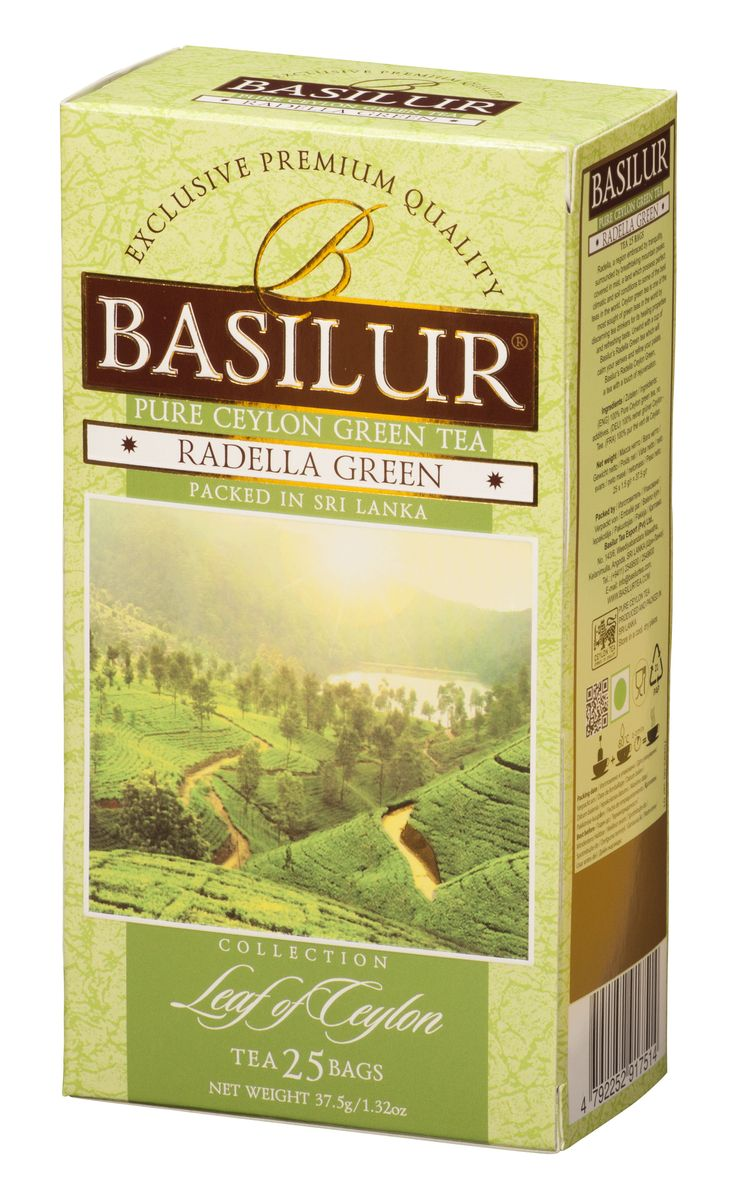 Basilur Radella зеленый чай в пакетиках, 25 шт70493-00Чай зелёный цейлонский байховый мелколистовой Basilur Radella в пакетиках с ярлычками для разовой заварки. Среди горных вершин, покрытых туманами расположена Radella. Место с идеальными климатическими и почвенными условиями для выращивания одного из лучших сортов чая в мире.Целебные свойства и освежающий вкус цейлонского чая удовлетворят даже самых взыскательных ценителей этого напитка. Чашка зеленого чая Basilur Radella с легким освежающим эффектом успокоит ваши чувства и поднимет настроение.Всё о чае: сорта, факты, советы по выбору и употреблению. Статья OZON Гид