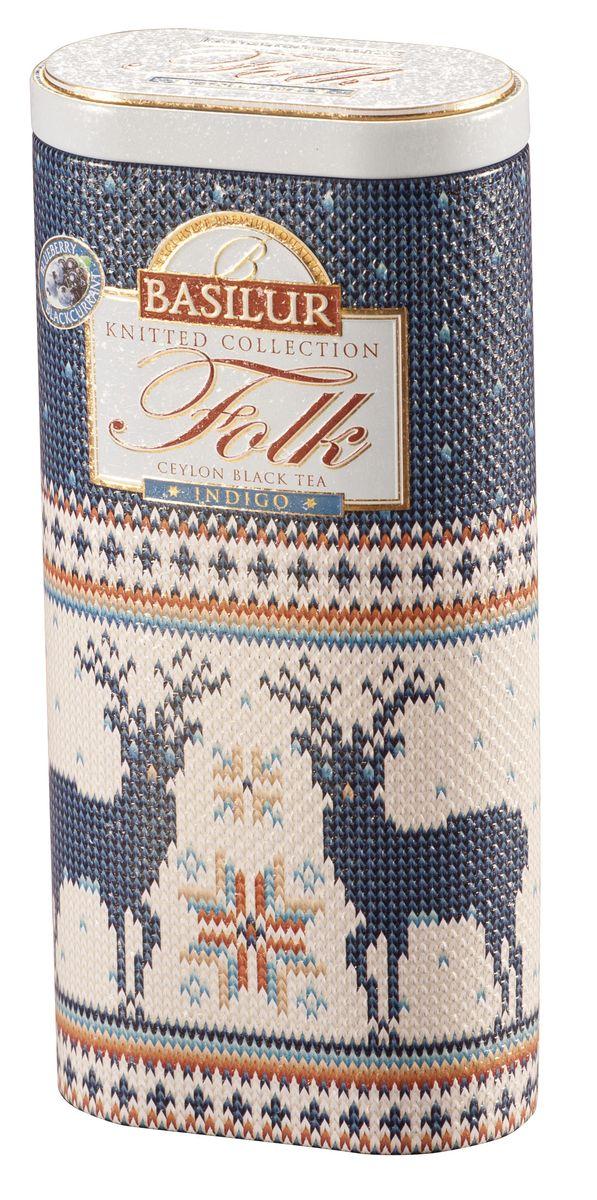 Basilur Folk Indigo черный листовой чай, 100 г (жестяная банка) basilur folk rainbow черный листовой чай 100 г жестяная банка