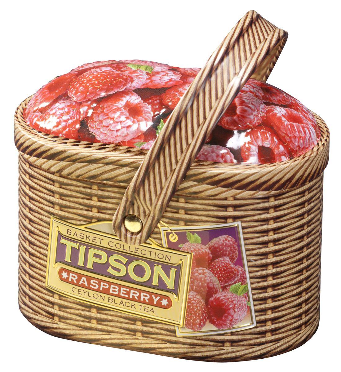 Tipson Raspberry черный листовой чай, 100 г (жестяная банка) basilur cream fantasy зеленый листовой чай 100 г жестяная банка
