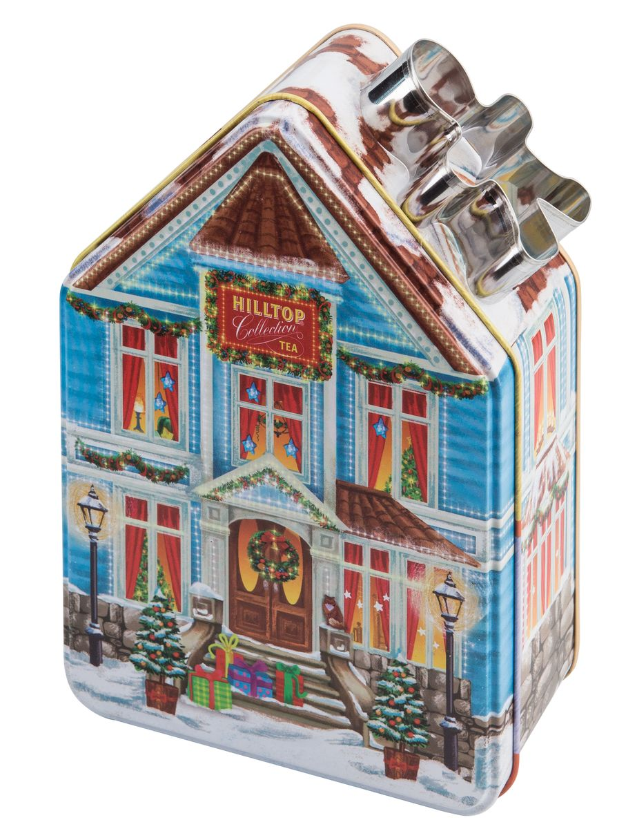 Hilltop Домик с рецептом Новогодний черный листовой чай, 100 г4607099304307Hilltop Домик с рецептом Новогодний- ароматный черный чай с корицей и цедрой апельсина. Дополнен миндальным орехом, инжиром и гвоздикой. Этот чай прекрасно согреет зимним вечером и освежит в любое время дня. Оригинальный дизайн упаковки в виде домика и форма для печенья в подарок послужат приятным дополнением. Также на упаковке вы найдете рецепт имбирного печенья и сможете самостоятельно испечь его и наслаждаться великолепным лакомством к чаю!Уважаемые покупатели, форма для печения в ассортименте.