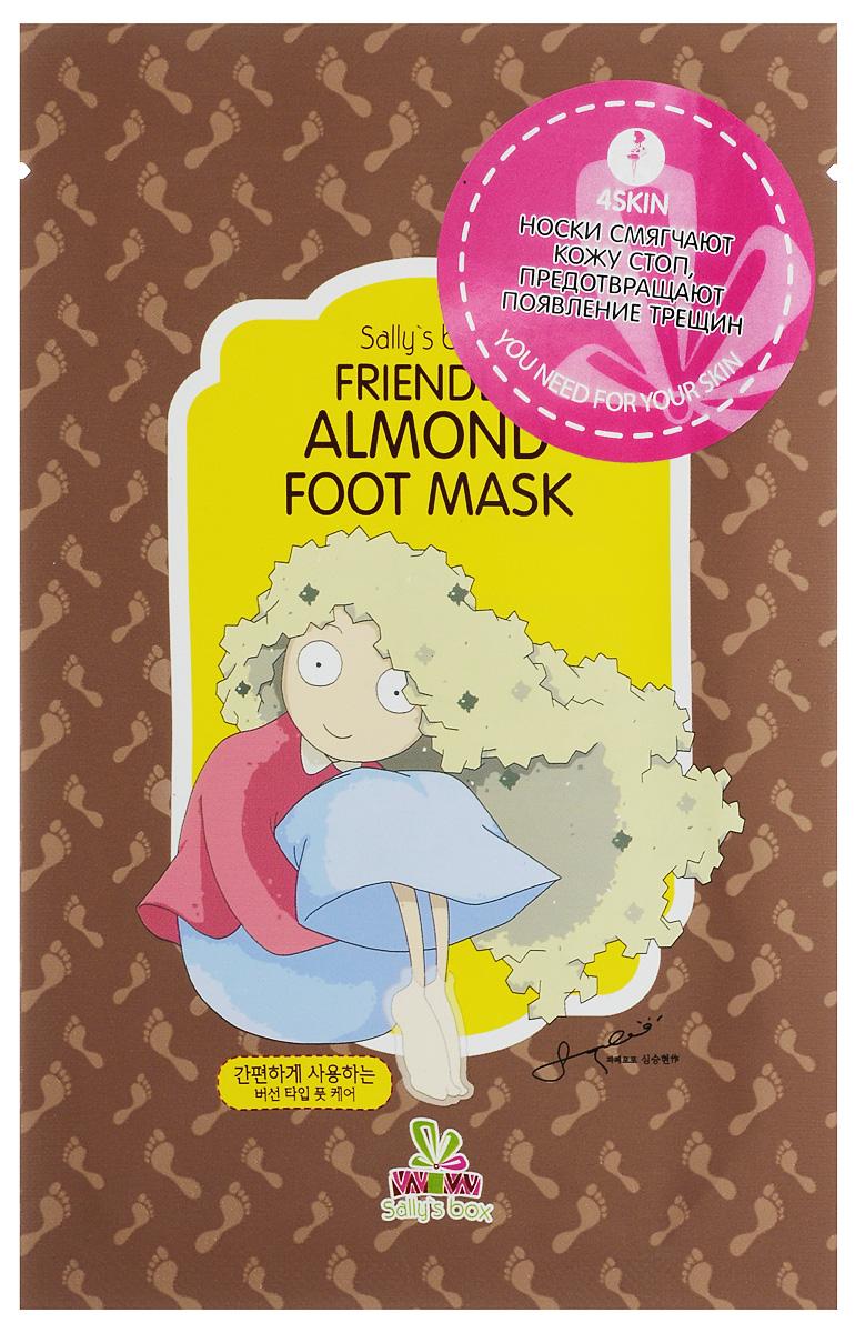 SALLY`S BOX Увлажняющие носки-маска FRIENDLY ALMOND813363Интенсивная увлажняющая маска для ног предназначена для глубокого увлажнения, питания и размягчения загрубевшей кожи стоп. Входящая в состав маски мочевина размягчают мозоли, масло ши (карите) увлажняют и способствуют смягчению и регенерации кожи стоп, а экстракт мяты перечной эффективно освежает и придаёт ногам ощущение лёгкости.