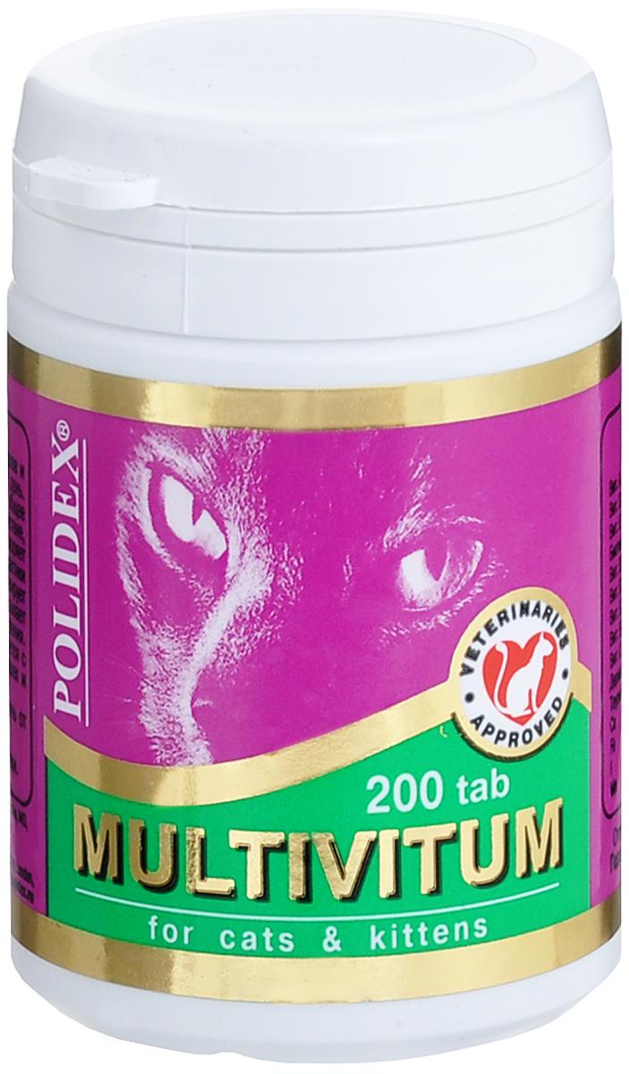 Витамины для кошек Polidex  Multivitum , 200 шт - Ветеринарная аптека