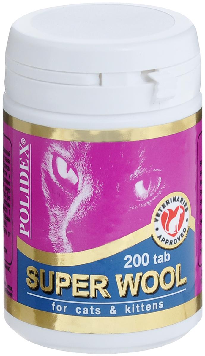 Витамины для кошек Polidex Super Wool, 200 шт одестон таблетки 200 мг 100 шт