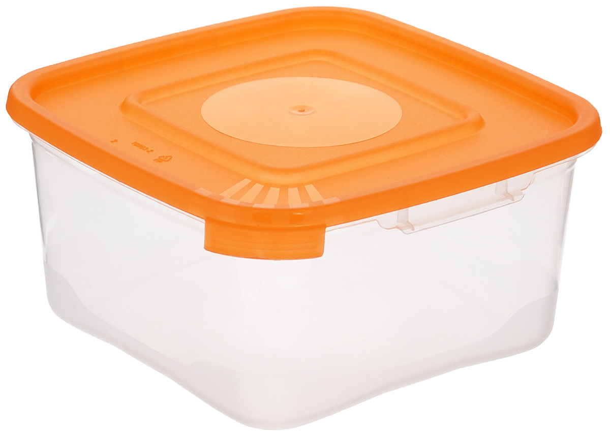 Контейнер Полимербыт Каскад, цвет: оранжевый, прозрачный, 460 мл контейнер вакуумный пластиковый для хранения продуктов 136х136х71 мл 600 мл желтый 1249501
