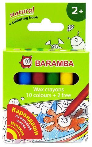 Набор восковых карандашей в картонной коробке 12 шт +внутренний вкладыш-раскраска Для детей от 2х лет!