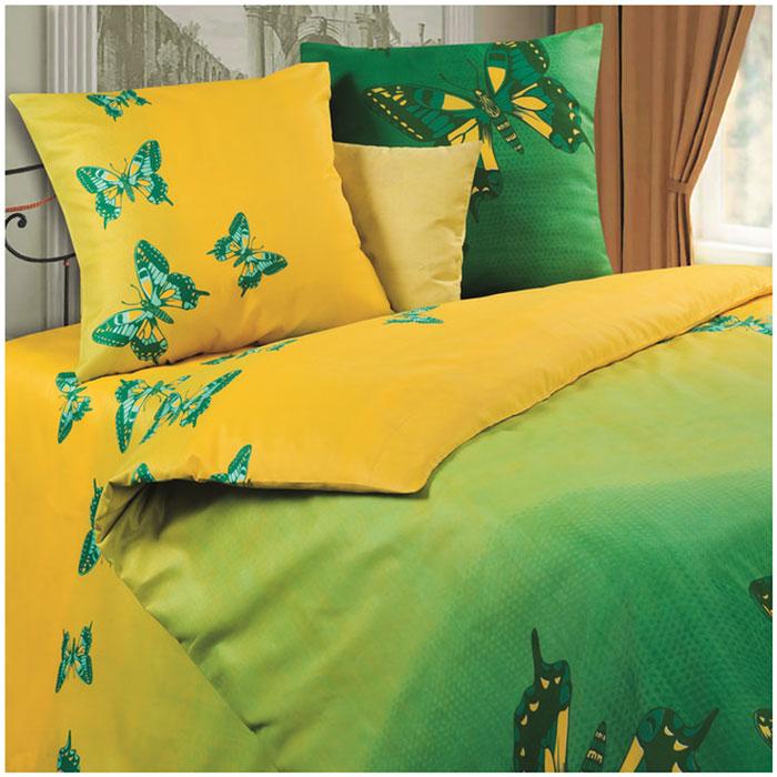 Комплект белья P&W Мгновение, 1,5-спальный, наволочки 69х69, цвет: зеленый, желтый diana p w постельное белье отзывы