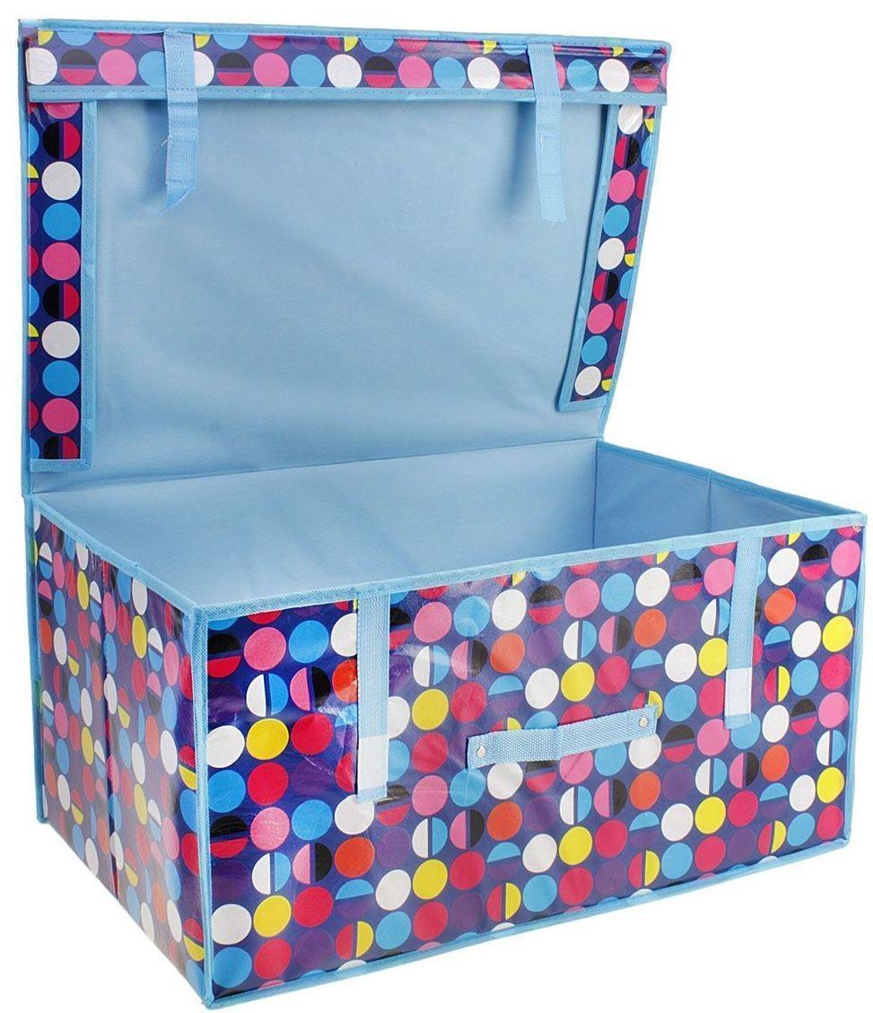 Кофр для хранения Sima-land, рисунок: цветной горошек, 60 х 40 х 30 см 564046564046Материал: флизелин, клеенка, картон.