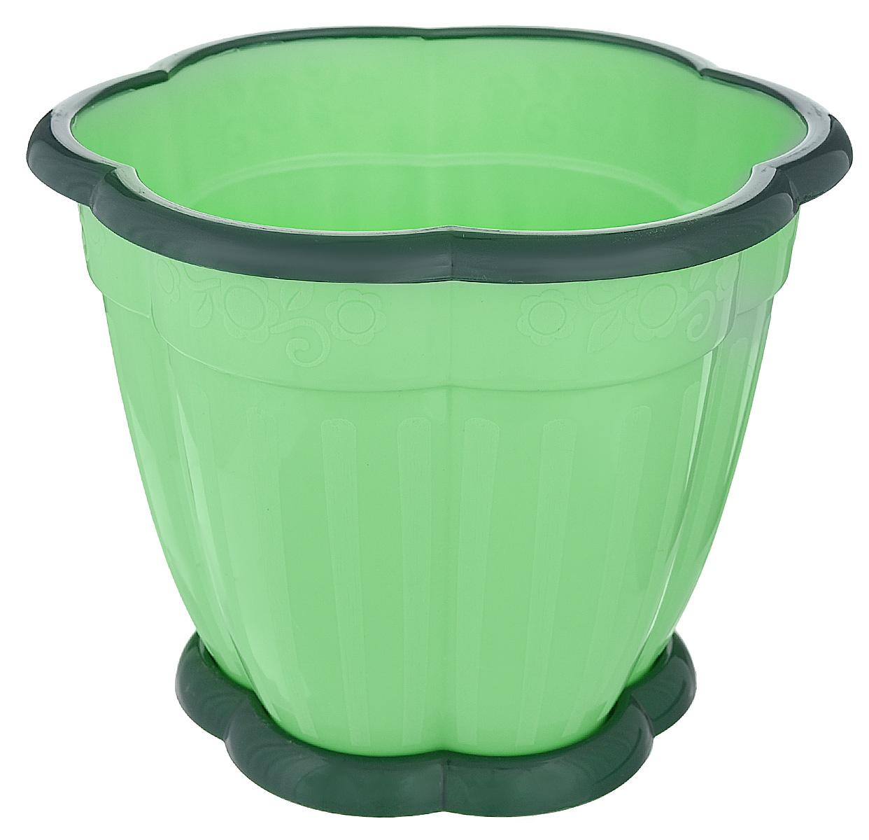 Горшок для цветов Альтернатива Восторг, с поддоном, цвет: светло-зеленый, зеленый, 3 лМ1219Любой, даже самый современный и продуманный интерьер будет не завершённым без растений. Они не только очищают воздух и насыщают его кислородом, но и заметно украшают окружающее пространство. Такому полезному &laquo члену семьи&raquoпросто необходимо красивое и функциональное кашпо, оригинальный горшок или необычная ваза! Мы предлагаем - Горшок для цветов 3 л Восторг, поддон, цвет зеленый!Оптимальный выбор материала &mdash &nbsp пластмасса! Почему мы так считаем? Малый вес. С лёгкостью переносите горшки и кашпо с места на место, ставьте их на столики или полки, подвешивайте под потолок, не беспокоясь о нагрузке. Простота ухода. Пластиковые изделия не нуждаются в специальных условиях хранения. Их&nbsp легко чистить &mdashдостаточно просто сполоснуть тёплой водой. Никаких царапин. Пластиковые кашпо не царапают и не загрязняют поверхности, на которых стоят. Пластик дольше хранит влагу, а значит &mdashрастение реже нуждается в поливе. Пластмасса не пропускает воздух &mdashкорневой системе растения не грозят резкие перепады температур. Огромный выбор форм, декора и расцветок &mdashвы без труда подберёте что-то, что идеально впишется в уже существующий интерьер.Соблюдая нехитрые правила ухода, вы можете заметно продлить срок службы горшков, вазонов и кашпо из пластика: всегда учитывайте размер кроны и корневой системы растения (при разрастании большое растение способно повредить маленький горшок)берегите изделие от воздействия прямых солнечных лучей, чтобы кашпо и горшки не выцветалидержите кашпо и горшки из пластика подальше от нагревающихся поверхностей.Создавайте прекрасные цветочные композиции, выращивайте рассаду или необычные растения, а низкие цены позволят вам не ограничивать себя в выборе.