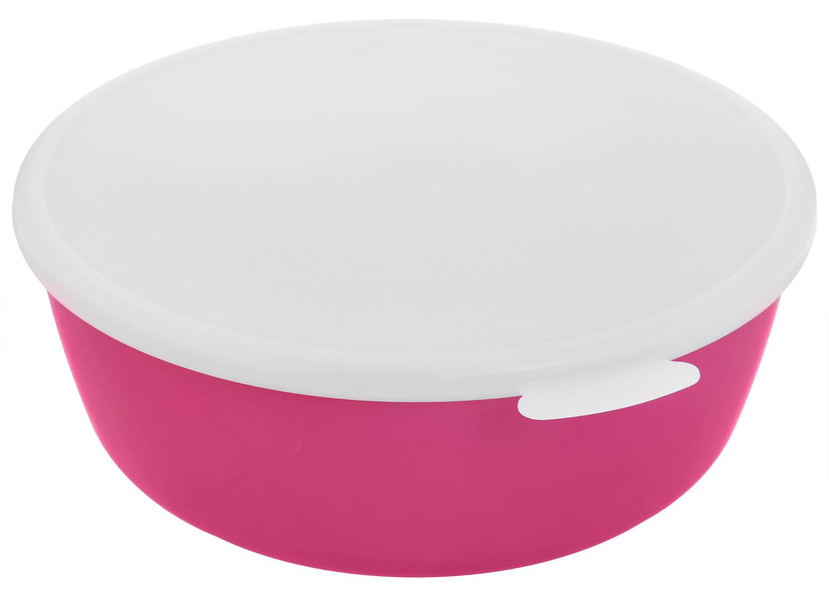 Миска Idea Прованс, с крышкой, цвет: малиновый, белый, 2,5 лМ 1382_малиновыйМиска круглой формы Idea Прованс изготовлена из высококачественного пищевого пластика. Изделие очень функциональное, оно пригодится на кухне для самых разнообразных нужд: в качестве салатника, миски, тарелки. Герметичная крышка обеспечивает продуктам долгий срок хранения.Диаметр миски: 22,5 см.Высота миски: 8,5 см.