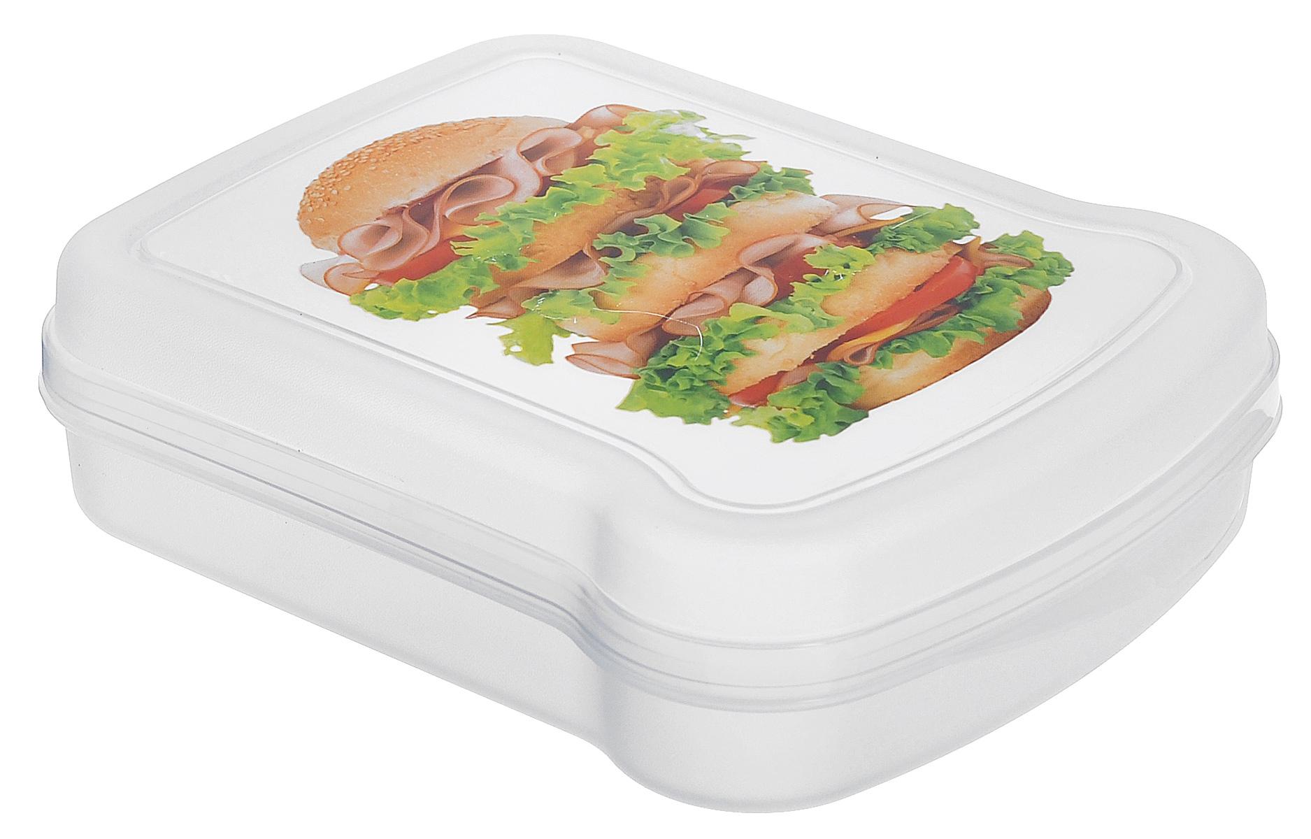 Контейнер для бутербродов Phibo Сэндвич с кунжутом, 17 см х 13 см х 4,2 смС12854_с кунжутомКонтейнер для бутербродов Phibo Сэндвич с кунжутом изготовлен из прозрачного пищевого пластика, устойчивого к высоким температурам. Контейнер выполнен в форме бутерброда, поэтому идеально подходит для его хранения. Крышка плотно закрывается, дольше сохраняя еду свежей и вкусной. Контейнер оформлен ярким изображением сэндвича. Такой контейнер удобно брать с собой на работу, учебу, пикник.Подходит для разогрева пищи в микроволновой печи и для хранения в холодильнике. Можно мыть в посудомоечной машине. Размер контейнера: 17 см х 13 см х 4,2 см.