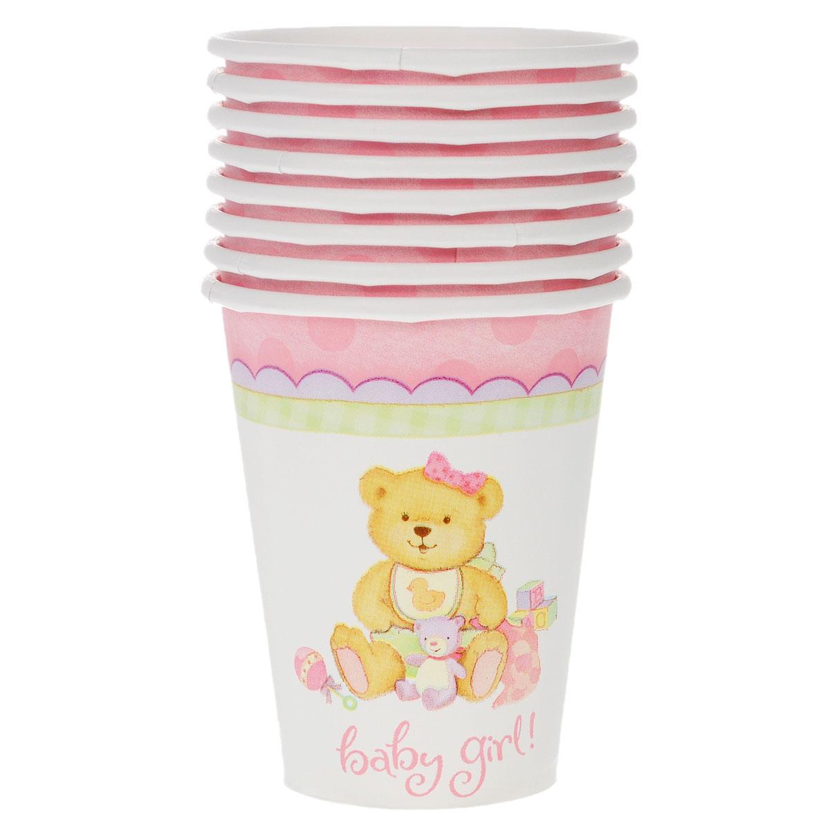 """Стакан Веселая затея """"Медвежонок девочка"""" изготовлен из качественной пищевой бумаги. Оформлен изображением милого медвежонка-девочки в окружении игрушек.Изделие станет великолепным дополнение к детскому торжеству. Такая посуда является экологически чистой, не наносит вреда здоровью и достаточно быстро самостоятельно утилизируется, не загрязняя окружающую среду. В комплекте 8 стаканов."""