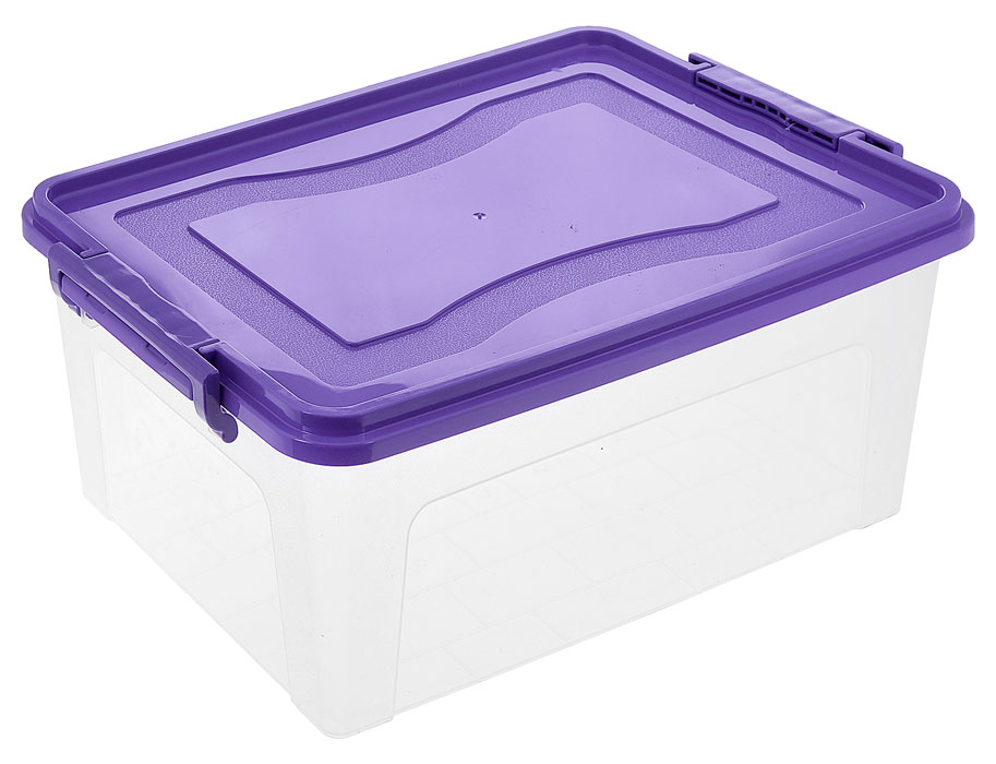 Контейнер для хранения Idea, прямоугольный, цвет: прозрачный, фиолетовый, 20 л