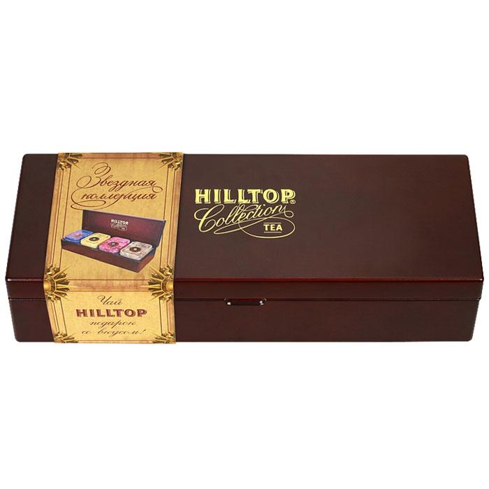 Hilltop Звездная коллекция большая, набор листового чая, 220 г4607099300842Hilltop Звездная коллекция большая в деревянной шкатулке с крышкой и четырьмя жестяными чайницами - великолепный подарок для истинных ценителей чая!Цейлонское утро — классический цейлонский черный чай с терпким вкусом, мягким ароматом и тонизирующими свойствами. Отлично дополняет завтрак или праздничный сладкий стол.Жасминовый чай — изысканный успокаивающий с нежным вкусом жасмина и тонким ароматом свежести.Волшебная луна — необычная смесь цейлонского черного чая и зеленого чая Сенча. Необычная, как сама тайна... С добавлением лепестков подсолнечника, розы, плодов шиповника и кусочков папайи. С нотами натурального масла дыни, смородины, земляники и абрикоса.1001 Ночь — загадочная, как звездная ночь Востока, смесь черных и зеленых байховых чаев с лепестками розы, жасмина, подсолнечника и сафлора. Чай с бархатным вкусом и легким ароматом. Ароматизирован натуральными маслами.Всё о чае: сорта, факты, советы по выбору и употреблению. Статья OZON Гид