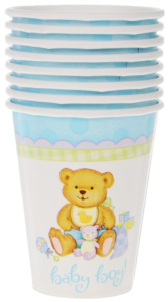 """Стакан Веселая затея """"Медвежонок мальчик"""" изготовлен из качественной пищевой бумаги. Оформлен изображением милого медвежонка-мальчика в окружении игрушек.Изделие станет великолепным дополнение к детскому торжеству. Такая посуда является экологически чистой, не наносит вреда здоровью и достаточно быстро самостоятельно утилизируется, не загрязняя окружающую среду. В комплекте 8 стаканов."""
