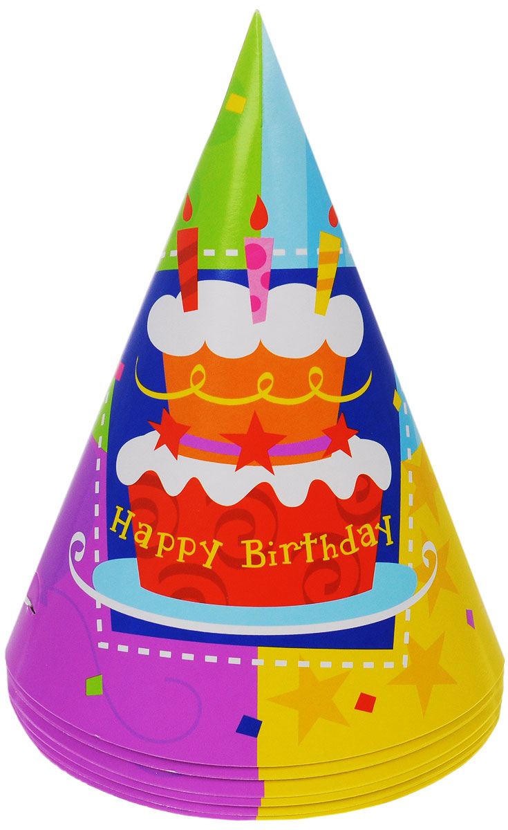 Веселая затея Колпак  Торт Happy Birthday , 6 шт - Колпаки и шляпы
