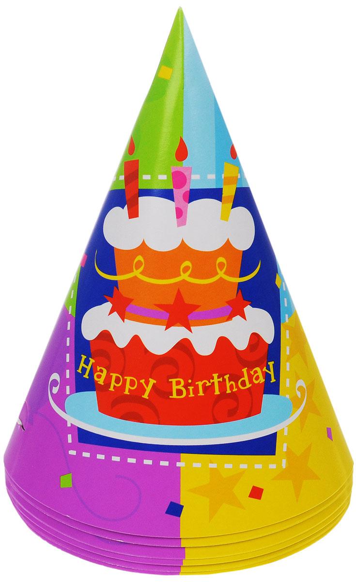 "Веселая затея Колпак ""Торт Happy Birthday"", 6 шт"
