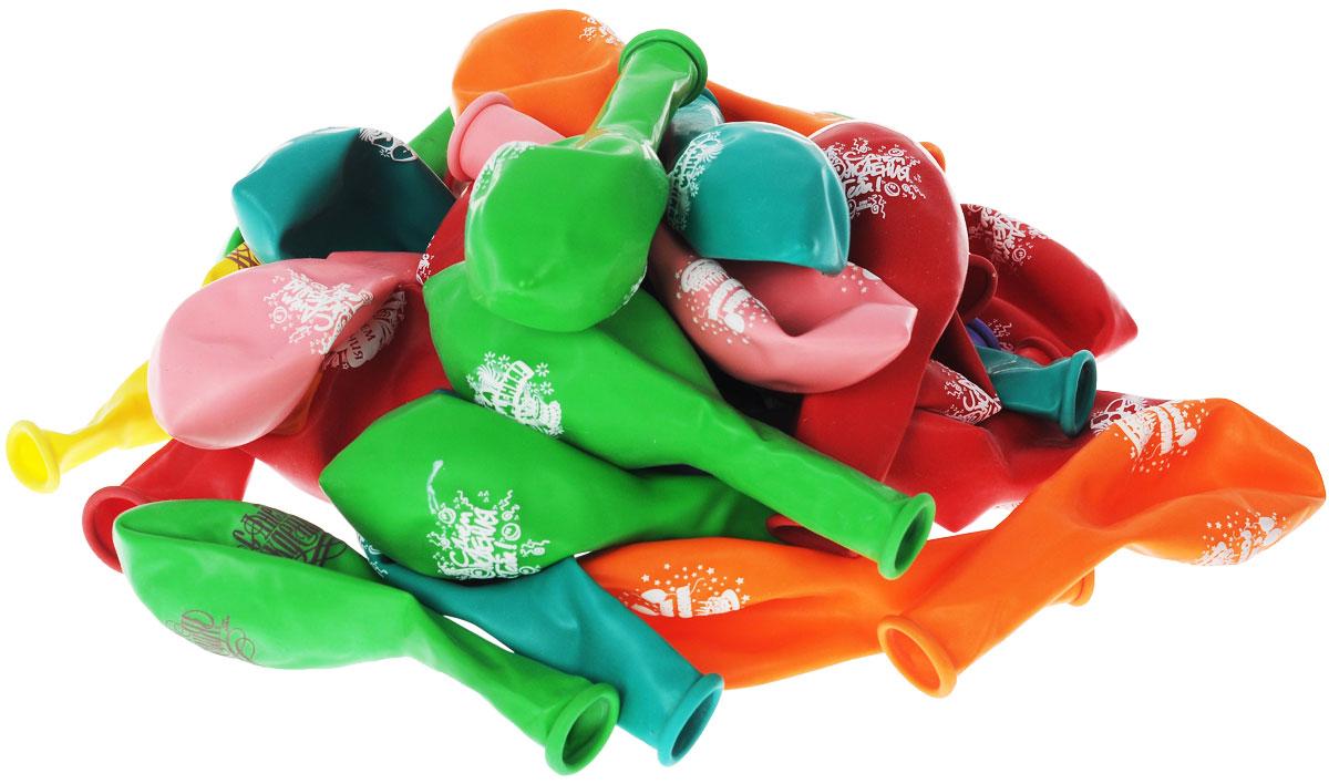 Веселая затея Набор воздушный шаров С днем рождения, 30 шт праздничные аксессуары веселая затея язычок гудок мозаика 6шт