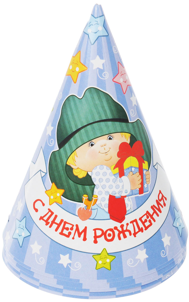 Веселая затея Колпак  С Днем рождения: Мальчик ретро , 6 шт -  Колпаки и шляпы
