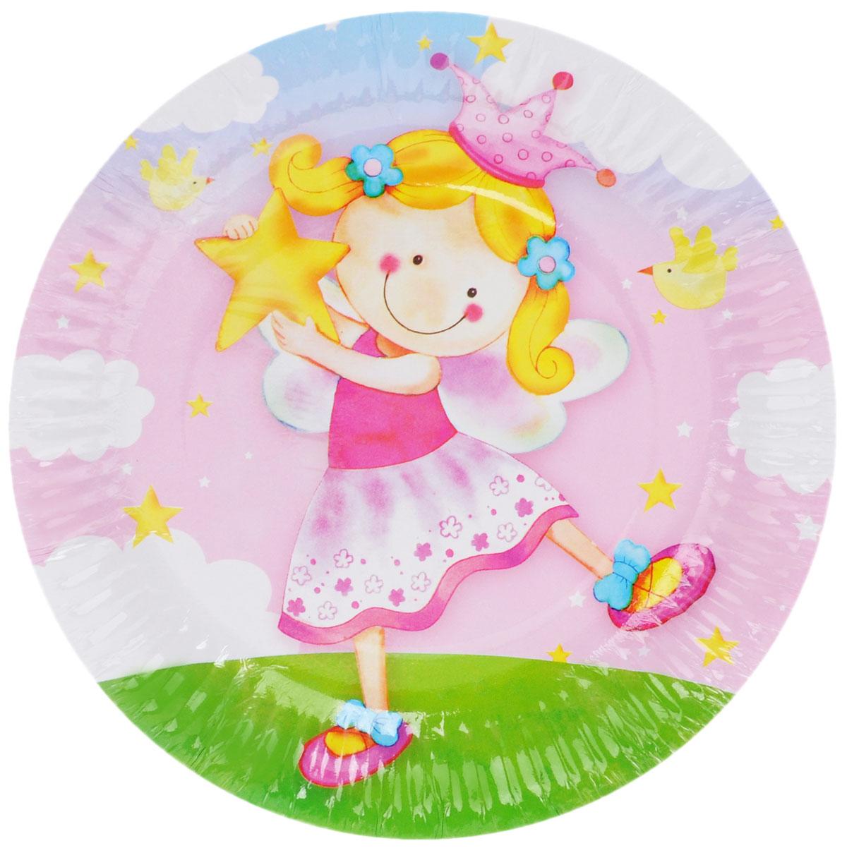 Веселая затея Тарелка бумажная Звездная фея, диаметр 17 см, 6 шт miland тарелка бумажная футбольный матч 17 см 6 шт