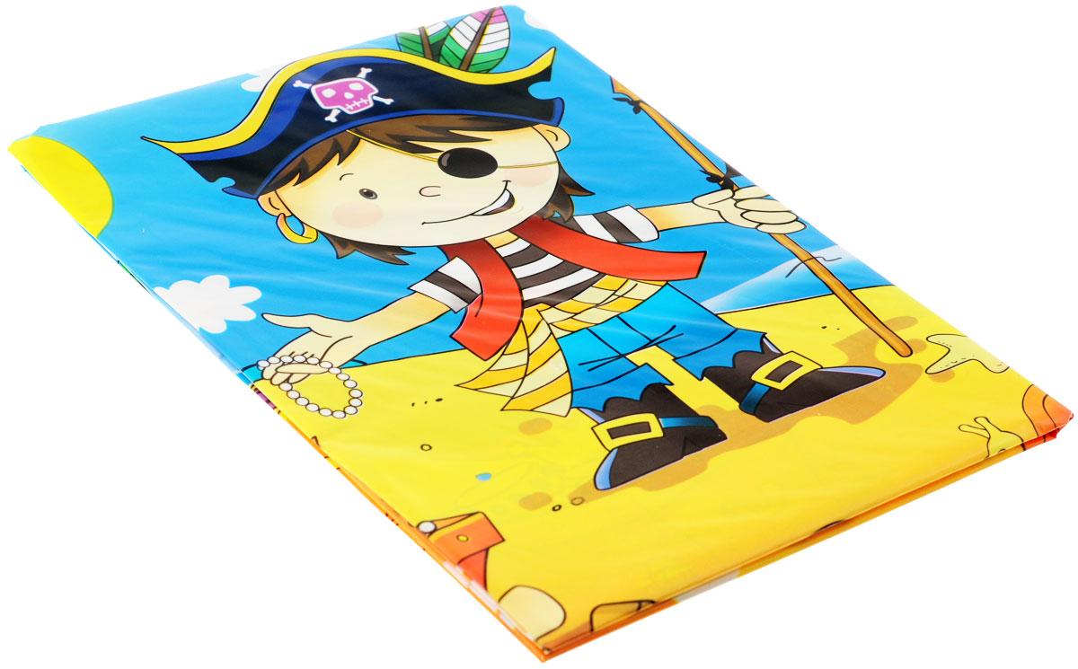 """Скатерть """"Маленький пират"""" органично впишется в интерьер кухни, или детской, а яркий рисунок обязательно понравится вашему ребенку. Изделие очень практичное, так как выполнено из полиэтилена. Скатерть с юным пиратом, нашедшим сокровища Флинта. Штиль на море, пальмы, солнце, шхуна у берега и надо всем этим развевается Веселый Роджер. Пиратская идиллия! Может использоваться как украшение стола, или по своему непосредственному назначению.Скатерть поможет создать атмосферу уюта и домашнего тепла в интерьере вашей кухни, а также станет настоящим украшением праздничного стола."""