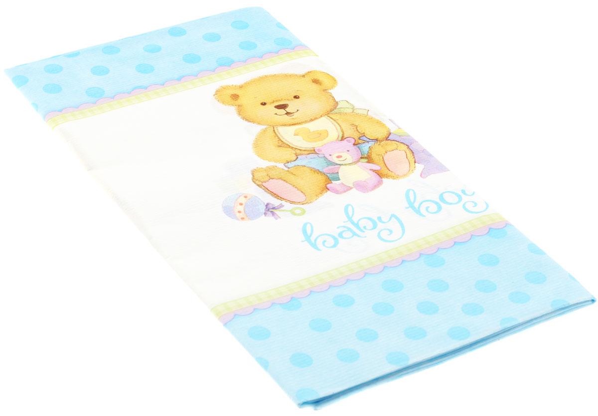 """Бумажная скатерть """"Медвежонок Мальчик"""" для встречи новорожденного или празднования дня рождения малыша. Белая середина скатерти создана специально для того, чтобы на ней выделялась цветная посуда. На широкой канве скатерти расположился трогательный мишка с кубиками, погремушками и окантовкой в нежно-голубой горох.  Скатерть поможет создать атмосферу уюта и домашнего тепла в интерьере вашей кухни, а также станет настоящим украшением праздничного стола."""