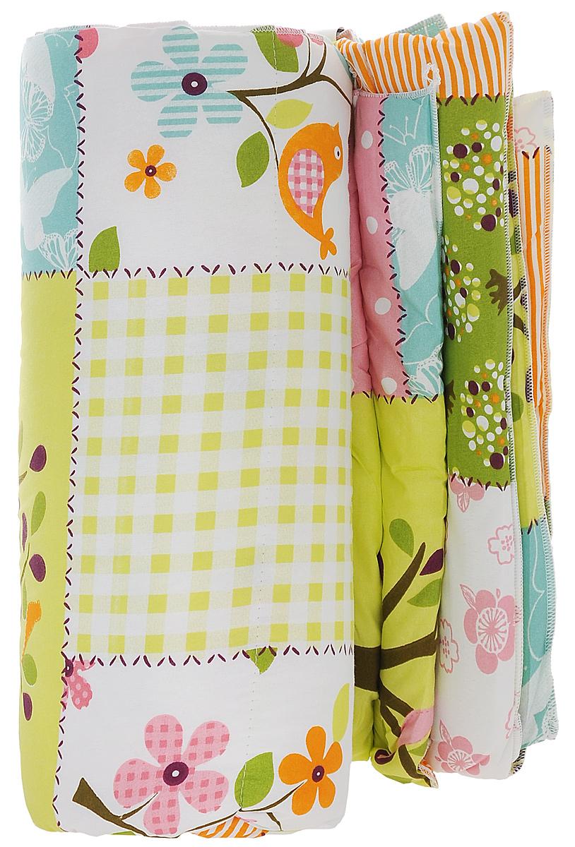 Одеяло Sleeper Дили, наполнитель: силиконизированное волокно, цвет: зеленый, 172 х 200 см20(13)323_зеленое с птицамиЛегкое одеяло Sleeper Дили подарит уют и комфорт во время сна. Чехол одеяла выполнен из микрофибры иоформлен красивым рисунком. Внутри - синтетический наполнитель из силиконизированного волокна (100%полиэстер).Изделия с синтетическим наполнителем имеют хорошую циркуляцию воздуха, быстро восстанавливают форму,они мягкие и упругие, удобны в уходе и эксплуатации. Одеяло очень легкое, удобное и комфортное, оно создаст оптимальный микроклимат в постели - в теплое времягода под ним не будет ни холодно, ни жарко. Рекомендации по уходу:- Ручная и машинная стирка при температуре 40°С.- Не гладить.- Не отбеливать. - Сушить при низкой температуре.- Химчистка с использованием углеводорода, хлорного этилена. Размер одеяла: 172 см х 200 см. Материал чехла: микрофибра (100% полиэстер). Материал наполнителя: силиконизированное волокно (100% полиэстер). Масса наполнителя: 0,5 кг.