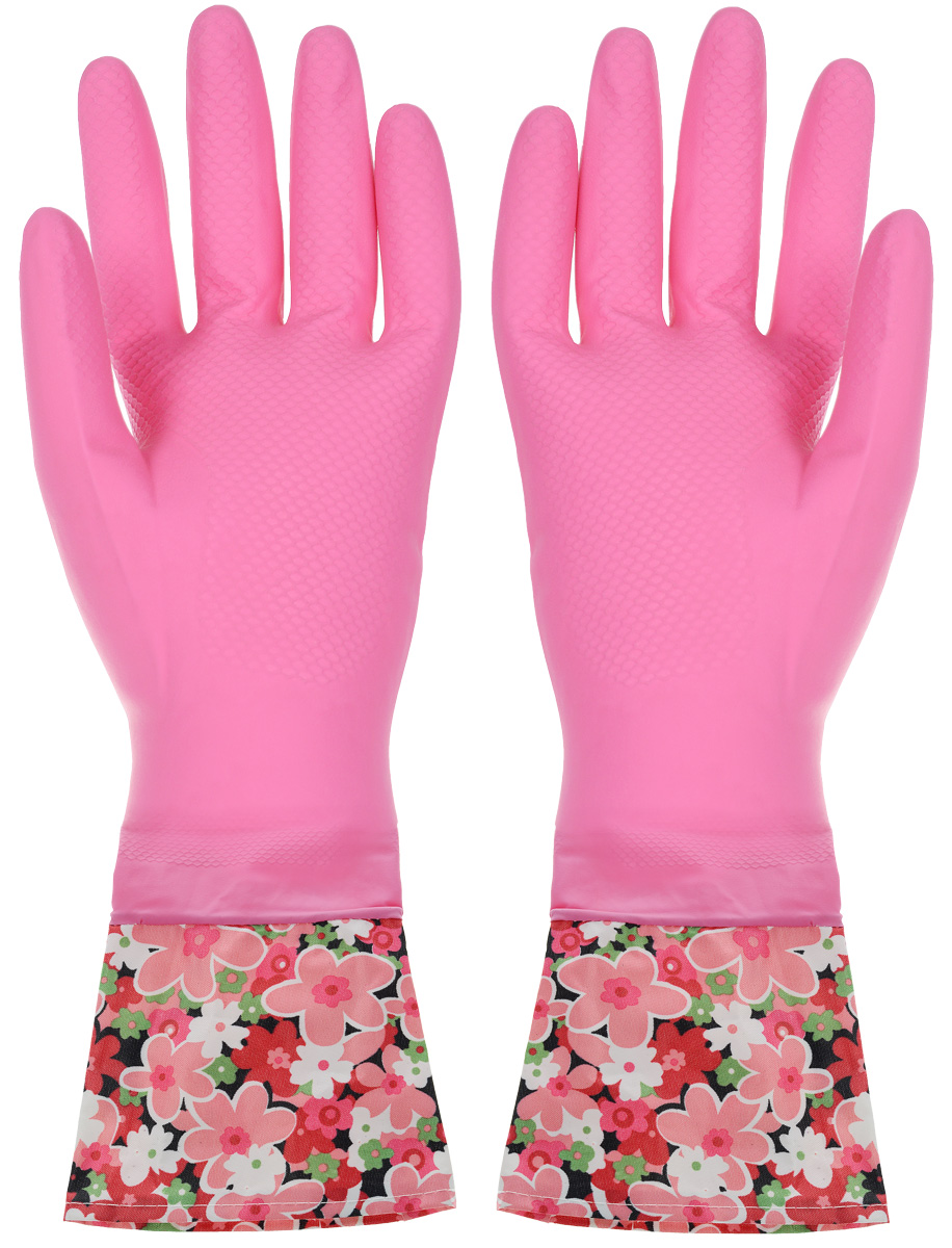 Перчатки хозяйственные You'll love, с манжетами, цвет: розовый. Размер M перчатки хозяйственные scotch brite цвет розовый размер m