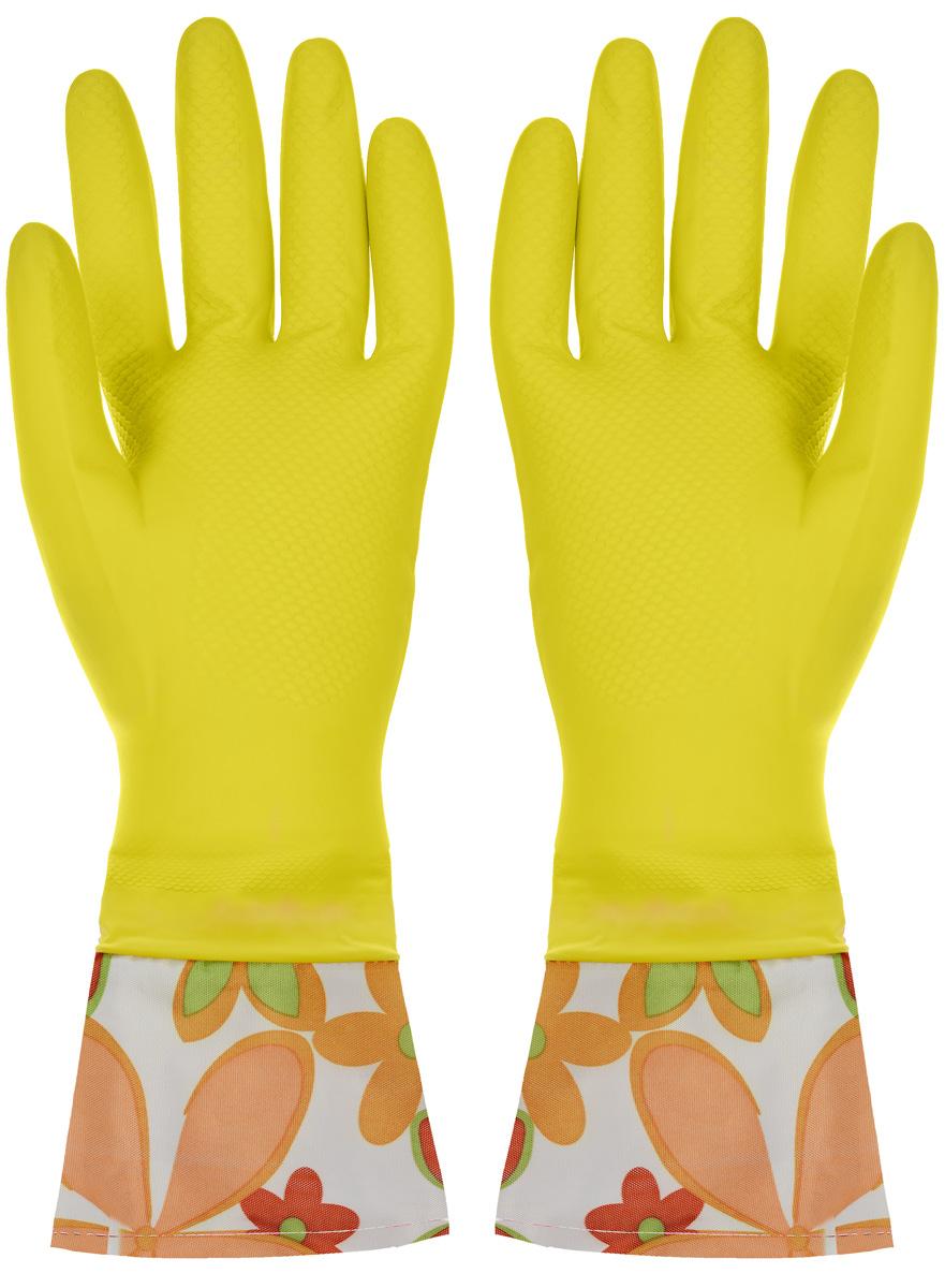 Перчатки хозяйственные Youll love, с манжетами, цвет: желтый. Размер M56486_желтыйПерчатки Youll love изготовлены из высокопрочного латекса и незаменимы при различных хозяйственных работах. Внутреннее хлопковое покрытие обеспечивает комфорт рукам и защищает от раздражений. Высокие манжеты препятствуют попаданию воды и грязи. Благодаря рифленой поверхности удобно удерживать мокрые предметы.
