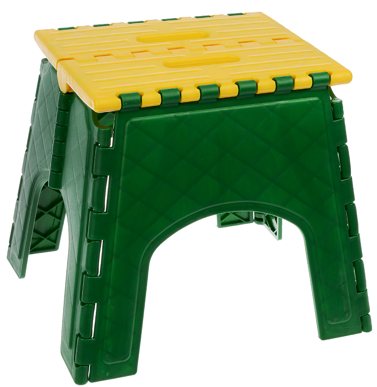 Табурет складной Idea Моби, цвет: зеленый, желтый. М 2292М 2292Складной табурет Моби выполнен из высококачественного пластика. Табурет достаточно прочен, легко собирается и разбирается и не занимает много места, поэтому подходит для транспортировки и хранения дома. Размер табурета в разложенном виде (ВхДхШ): 29 см х 29 см х 33 см. Размер табурета в сложенном виде: 41 см х 34 см х 5 см. Максимальная нагрузка: 150 кг.