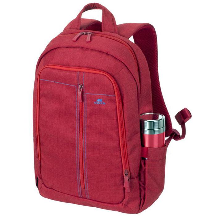 Riva 7560 рюкзак для ноутбука 15,6, RedRivaCase 7560 redСтильный городской рюкзак для ноутбука Riva 7560 изготовлен из высококачественной водоотталкивающей ткани. Легкая конструкция с утолщенными стенками создана для защиты ноутбука от случайных ударов и царапин, а также от пыли и влаги. Основное отделение с вертикальной загрузкой имеет мягкие стенки и ремень для надежной фиксации ноутбука до 15.6.Рюкзак оборудован также внутренним отделением для планшета до 10.1. Внешний передний карман на молнии для хранения аксессуаров также имеет панель-органайзер для визитных карт, флэш-накопителей, смартфона, а два боковых кармана служат для размещения емкостей с водой. Двойная застежка молния обеспечивает удобный доступ к устройству. Мягкая ручка для переноски и наплечные ремни со смягчающими подкладками помогут чувствовать себя комфортно в самом долгом путешествии. Специальная система крепления ремешков на липучке закрепляет их и создает дополнительное удобство.