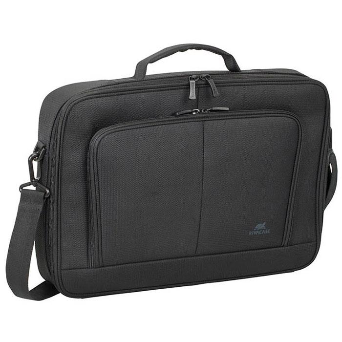 RIVACASE 8431 сумка для ноутбука 15,6, BlackRivaCase 8431 blackСумка Riva 8431для ноутбука до 15.6 выполнена из плотного синтетического материала и имеет утолщенные стенки для лучшей защиты ноутбука от случайных ударов и царапин, а также от пыли и влаги. Дополнительно имеет усиленную каркасную основу для лучшей защиты ноутбука от случайных ударов. Полностью открывающееся отделение, оборудованное прорезиненной лентой, служит для надежной фиксации ноутбука. Внутреннее отделение предназначено для переноски для планшетов с диагональю до 10.1. Внешнее переднее отделение на молнии служит для хранения аксессуаров, зарядного устройства оборудовано панелью-органайзером для визитных карт, авторучек, смартфона. Уплотненная, мягкая ручка и регулируемый по длине плечевой ремень позволяют чувствовать себя комфортно.