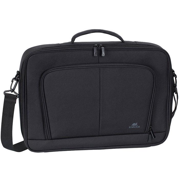 RIVACASE 8451 сумка для ноутбука 17.3, BlackRivaCase 8451 blackСумка Riva 8451 для ноутбука до 17.3 выполнена из плотного синтетического материала и имеет утолщенные стенки для лучшей защиты ноутбука от случайных ударов и царапин, а также от пыли и влаги. Дополнительно имеет усиленную каркасную основу для лучшей защиты ноутбука от случайных ударов. Полностью открывающееся отделение, оборудованное прорезиненной лентой обеспечивает надежную фиксацию ноутбука. Внутреннее отделение служит для переноски и хранения планшетов до 10.1. Во внешнее переднее отделение на молнии вы можете поместить аксессуары, зарядное устройство, а также визитные карты, авторучки и смартфон. На задней панели имеется карман на молнии для крепления сумки к ручке чемодана. Уплотненная, мягкая ручка и регулируемый по длине плечевой ремень позволяют чувствовать себя комфортно.