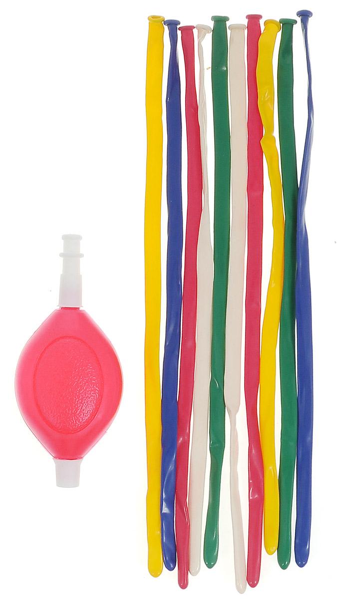 Веселая затея Набор воздушных шаров для моделирования Шарики-колбаски, с насосом, 10 шт детский набор для моделирования stirling engine stirling gz001