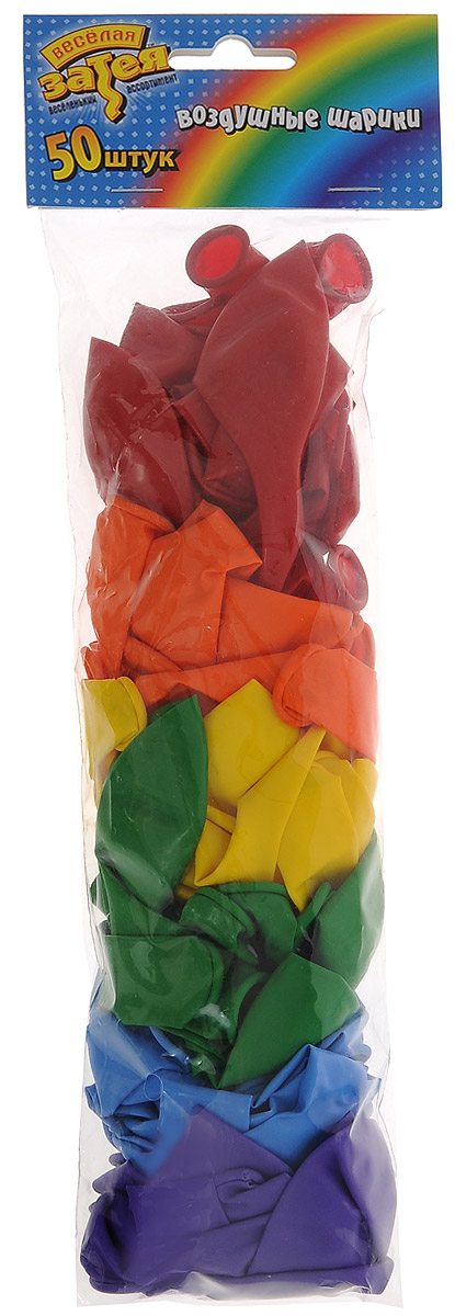 Веселая затея Набор воздушных шаров Пастель Радуга, 50 шт disney набор воздушных шаров пастель феи 25 шт 1306917
