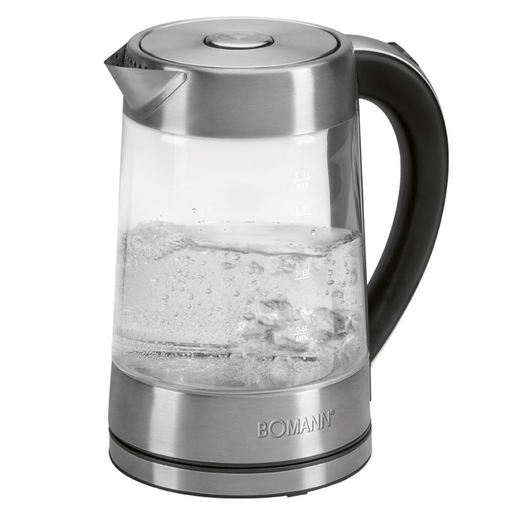 Bomann WK 5023 G CB электрический чайникWK 5023 G CB inoxОригинальный чайник из жаропрочного стекла займет достойное место на вашей кухне. Объем чайника 1,7 л, это очень удобно если у вас большая семья или часто ходят гости.