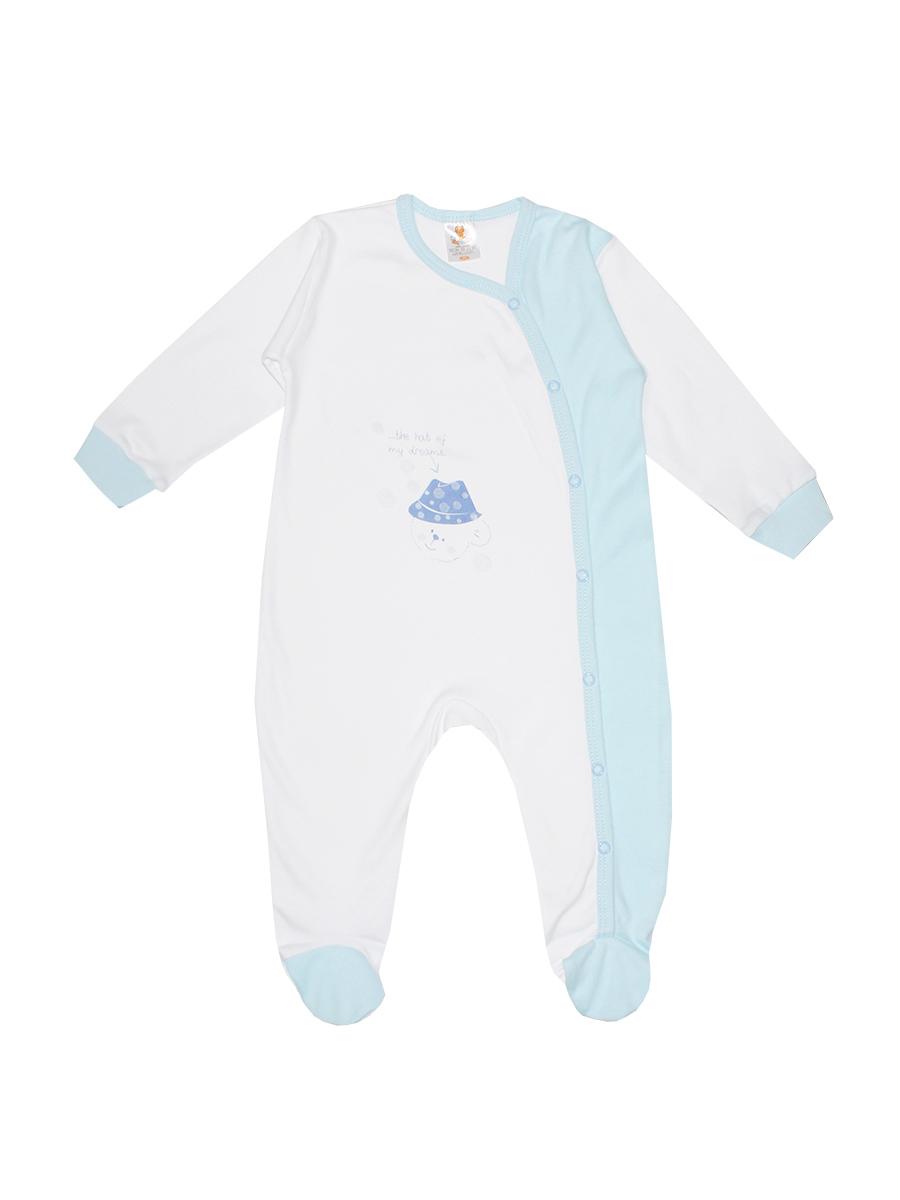 Комбинезон детский КотМарКот Мишка в шляпе, цвет: белый, голубой. 3675. Размер 80, 9-12 месяцев3675Детский комбинезон КотМарКот Мишка в шляпе идеально подойдет вашему ребенку, обеспечивая ему максимальный комфорт. Выполненный из интерлока - натурального хлопка, он очень мягкий на ощупь, не раздражает даже самую нежную и чувствительную кожу ребенка.Комбинезон с длинными рукавами, круглым вырезом горловины и закрытыми ножками имеет застежки-кнопки от горловины до щиколотки, которые помогают легко переодеть младенца или сменить подгузник. Низ рукавов дополнен мягкими широкими манжетами, не пережимающими ручки ребенка. Спереди модель оформлена принтом с изображением медвежонка.В таком комбинезоне спинка и ножки младенца всегда будут в тепле, и кроха будет чувствовать себя комфортно и уютно.