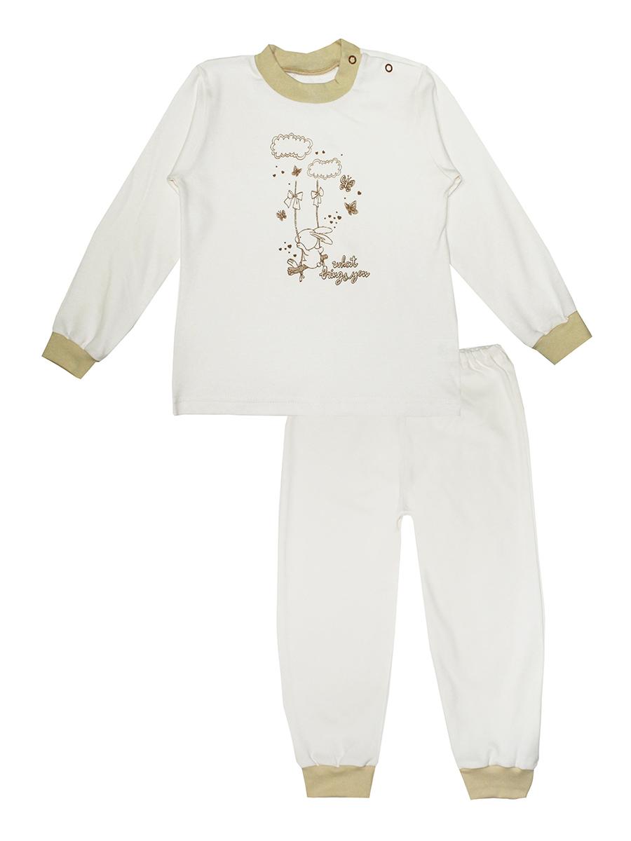 Пижама детская КотМарКот Зайка на качелях, цвет: молочный, бежевый. 3286. Размер 80, 9-12 месяцев