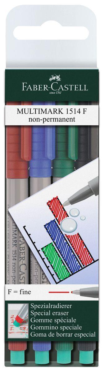 Faber-Castell Капиллярная ручка Multimark F для письма на пленке 4 цвета151404Капиллярная ручка Multimark предназначена для письма на CD, DVD дисках, пленках для проекторов и других гладких поверхностях. Ручка с обратной стороны содержит специальный ластик для стирания чернил.Чернила быстросохнущие, с яркими цветами, корпус изготовлен из прочного пластика.В наборе 4 цвета: черный, красный, синий, зеленый.