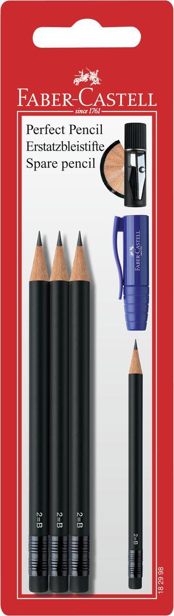 Faber-Castell Чернографитовый карандаш Perfect Pencil 3 шт (запасные)182998Чернографитовый карандаш с ластиком Faber-Castell Perfect Pencil станет не только идеальным инструментом для письма, рисования или черчения, но и дополнит ваш имидж.Высококачественный ударопрочный грифель не крошится и не ломается при заточке. Качественная мягкая древесина обеспечивает хорошее затачивание. Специальная SV технология вклеивания грифеля предотвращает его поломку при падении на пол.Степень твердости - B.