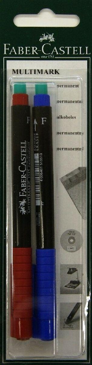 Faber-Castell Капиллярная перманентная ручка Multimark F для письма на CD цвет красный синий 2 шт263258Капиллярная перманентная ручка Multimark предназначена для письма на CD, DVD дисках, пленках для проекторов и других гладких поверхностях. Ручка с обратной стороны имеет специальный ластик для стирания чернил.Чернила быстросохнущие, с яркими цветами, корпус изготовлен из прочного пластика.В наборе 1 ручка синего цвета и 1 ручка красного цвета.