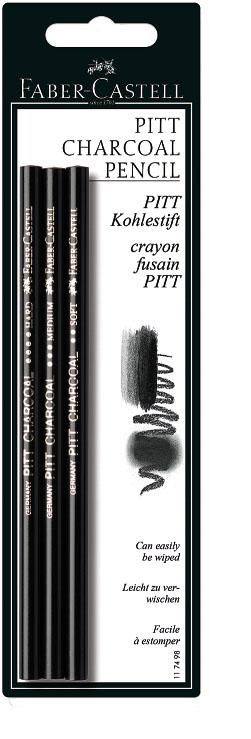 Faber-Castell Набор угольных карандашей Pitt 3 шт117498Набор угольных карандашей Faber-Castell Pitt включает в себя 3 карандаша различной твердости: Soft, Medium и Hard.Прессованный уголь отличается высочайшим качеством, обеспечивает самый темный оттенок черного цвета.Прессованный уголь для рисования выпускается в виде деревянных карандашей и особенно удобен в использовании, в том числе для начинающих. Уголь, запрессованный в дереве, оставляет насыщенный черный след на бумажной поверхности.