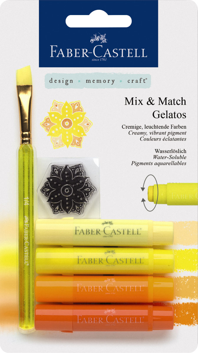 Faber-Castell Восковые мелки Gelatos цвет желтый 4 шт121801Новый уникальный продукт Gelatos от Faber-Castell не имеет аналогов на рынке. Он не содержит вредных веществ, очень гладко наносится на поверхность, имеет яркие и насыщенные цвета, которые легко смешиваются. Gelatos легко наносится на бумагу, холст или дерево и великолепно сочетается с другими арт-продуктами Faber-Castell. Этот продукт идеально подходит как для начинающих,так и для опытных художников. В набор также входят штамп и кисточка.