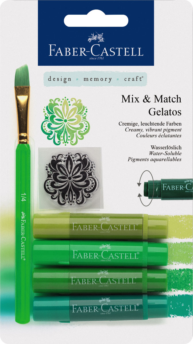 Faber-Castell Восковые мелки Gelatos цвет зеленый 4 шт121804Новый уникальный продукт Gelatos от Faber-Castell не имеет аналогов на рынке. Он не содержит вредных веществ, очень гладко наносится на поверхность, имеет яркие и насыщенные цвета, которые легко смешиваются. Gelatos легко наносится на бумагу, холст или дерево и великолепно сочетается с другими арт-продуктами Faber-Castell. Этот продукт идеально подходит как для начинающих,так и для опытных художников. В набор также входят штамп и кисточка.