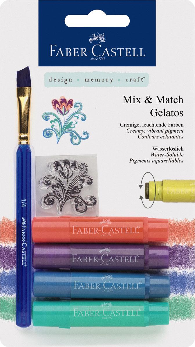 Faber-Castell Восковые мелки Gelatos цвет металлик 4 шт121806Новый уникальный продукт Gelatos от Faber-Castell не имеет аналогов на рынке. Он не содержит вредных веществ, очень гладко наносится на поверхность, имеет яркие и насыщенные цвета, которые легко смешиваются. Gelatos легко наносится на бумагу, холст или дерево и великолепно сочетается с другими арт-продуктами Faber-Castell. Этот продукт идеально подходит как для начинающих,так и для опытных художников. В набор также входят штамп и кисточка.
